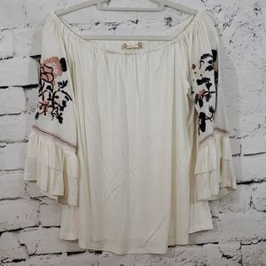 Altar'd State cream embroidered sleeve top